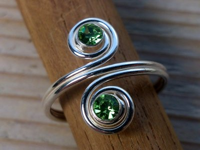 teenring zilver groen (begin-maat 16mm)