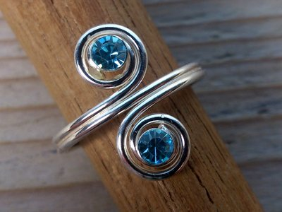 teenring zilver turquoise (begin-maat 16mm)