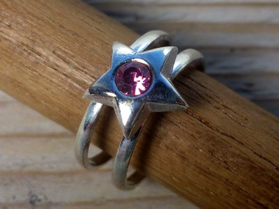 teenring zilver ster roze (maat 14mm)