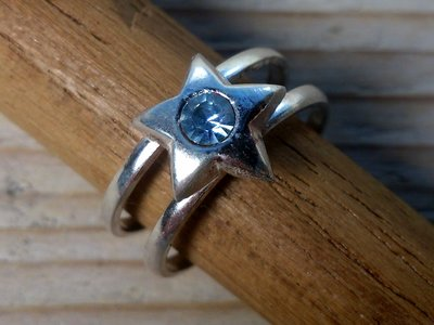 teenring zilver ster blauw (maat 14mm)