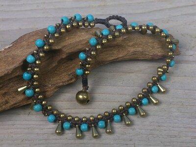 enkelbandje kraaltjes turquoise-goud