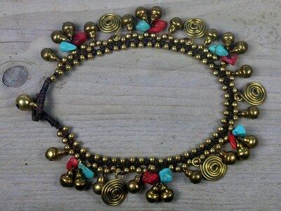 enkelbandje kraaltjes turquoise-rood-goud