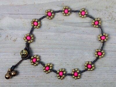 enkelbandje kraaltjes roze-goud
