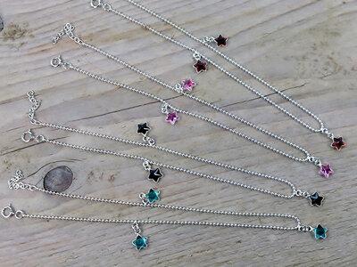 enkelketting zilver met sterretjes kies uit 4 kleuren