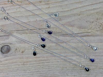 enkelketting zilver druppel kies uit 3 kleuren