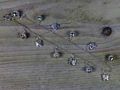 enkelketting bedels vlinders/bolletjes zilver