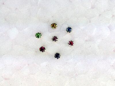 neusknopjes zilver • met steentje set met 7 kleuren