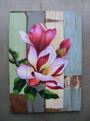 schilderijen bloemen op sloophout v.a.