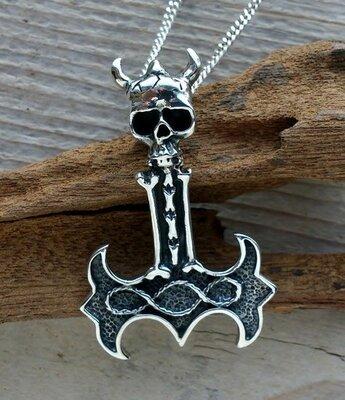 hanger Hamer van Thor met skull zilver