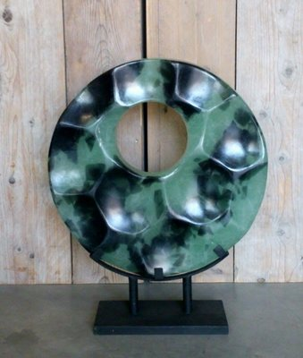 glaskunst 'Black&Turquoise' 50 x 50 cm