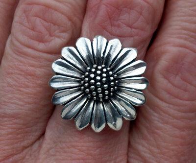 ring bloem zilver
