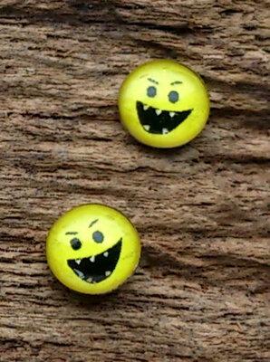 oorknopjes smiley tanden zilver Ø 5mm