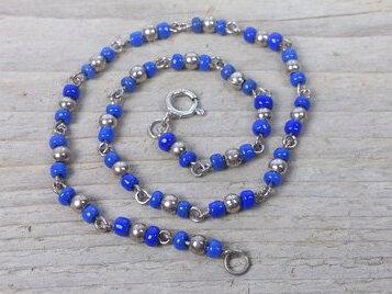 enkelketting zilver kraaltjes donkerblauw