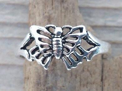 teenring vlinder zilver (begin-maat 14mm)