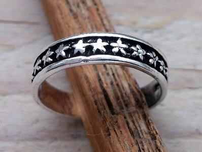 teenring zilver sterren (begin-maat 14,5mm)