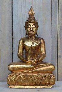 Boeddha houtsnijwerk hoogte 36cm