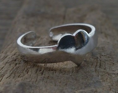 teenring hartje zilver (begin-maat 14mm)