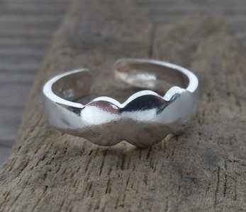 teenring zilver abstract (begin-maat 14mm)