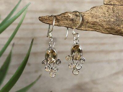 oorbellen geel (citrien) zilver