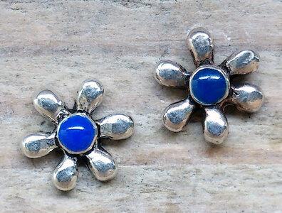 oorknopjes bloem blauw zilver