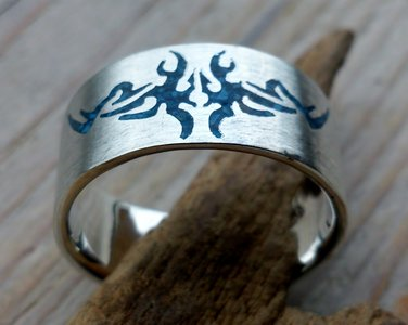ring tribal blauw zilver (maat 20 - 20¼ - 21¼ - 21½ - 22¼) v.a.