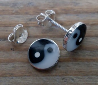 oorknopjes yin yang Ø 8mm zilver