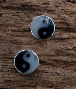 oorknopjes yin yang Ø 6mm zilver