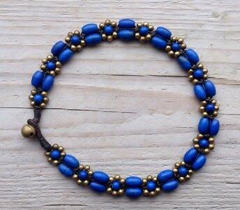 enkelbandje kraaltjes donkerblauw-goud