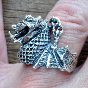 ring draak zilver (maat 20¼)