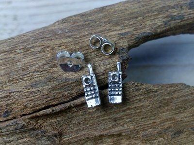 oorknopjes mobieltje zilver