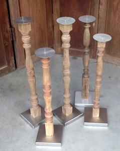 kandelaar oud hout met RVS
