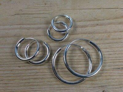 oorringetjes zilver 3mm dik Ø 18-20-30 mm v.a.