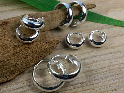 oorringen zilver 5mm br Ø 10-12-14-16 mm v.a.