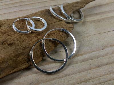oorringetjes zilver plat 1,5mm dik Ø 12-18-20 mm v.a.