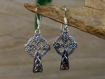 oorbellen keltisch kruis zilver