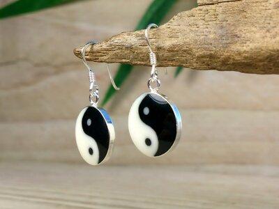 oorbellen yin yang zilver Ø 14mm