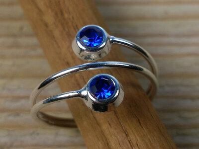 teenring zilver donkerblauw (begin-maat 16,5mm)