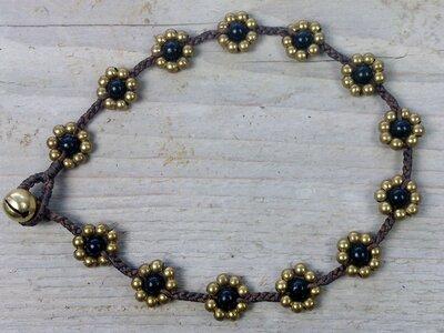 enkelbandje kraaltjes zwart-goud