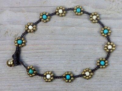 enkelbandje kraaltjes turquoise-wit-goud