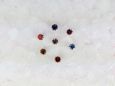 neusknopjes zilver met steentje set met 7 kleuren