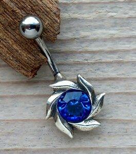 navelpiercing bloem zilver blauw 02