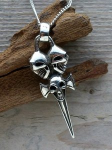 hanger zwaard skulls zilver