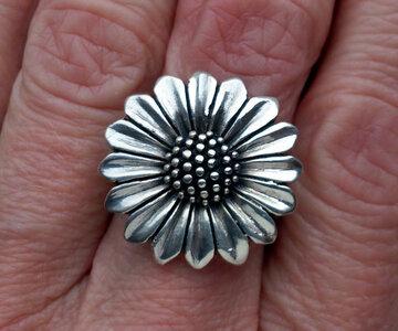 ring bloem zilver (maat 16)