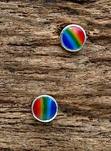 oorknopjes 'regenboog' zilver
