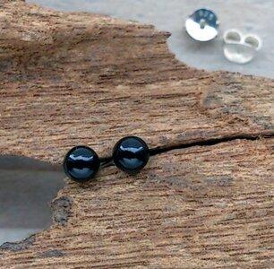 oorknopjes zwart bolletje zilver