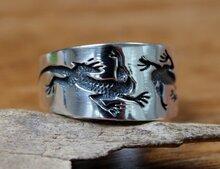 hagedis ring zilver