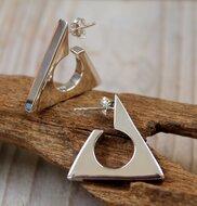 driehoek oorsteker zilver