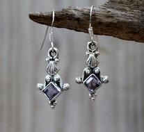 oorbellen met paarse steentjes