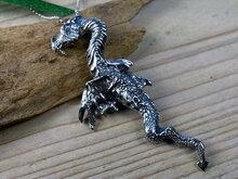 zilveren draak ketting hanger